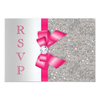 """Falso arco y diamantes RSVP de las rosas fuertes Invitación 3.5"""" X 5"""""""