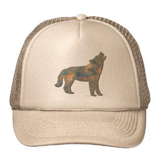 Falso arte de piedra del lobo gorras de camionero