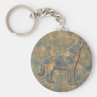 Falso arte de piedra del lobo llavero redondo tipo pin