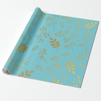 Falso azul de cielo de la hoja de oro de las hojas papel de regalo