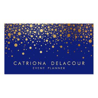 Falso azul de la tarjeta de visita del confeti de