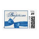 Falso bautismo texturizado azul 3 del bebé del franqueo