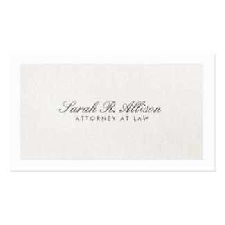 Falso beige ligero elegante de lino del abogado plantilla de tarjeta de negocio