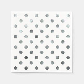Falso blanco metálico de plata del lunar de la servilletas de papel