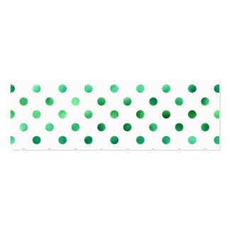 Falso blanco metálico verde claro del lunar de la tarjetas de visita mini