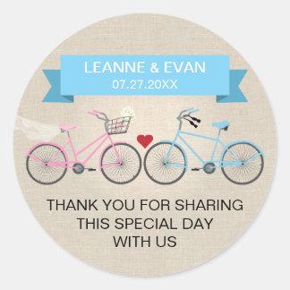 Falso boda azul de lino de la bicicleta pegatinas redondas