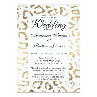 """Falso boda blanco elegante del estampado de invitación 5"""" x 7"""""""