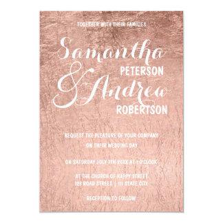"""Falso boda color de rosa de lujo de la hoja de oro invitación 5"""" x 7"""""""