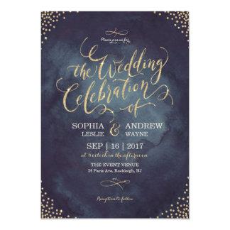 """Falso boda de la caligrafía del brillo del oro de invitación 5"""" x 7"""""""