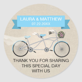 Falso boda en tándem azul de lino de la bicicleta pegatina redonda