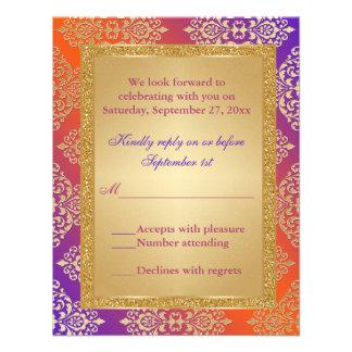 FALSO brillo anaranjado púrpura del oro, tarjeta d Invitacion Personal