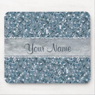 Falso brillo azul atractivo de la hoja de plata de tapete de raton