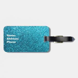 Falso brillo azul etiquetas de equipaje