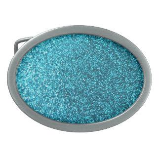 Falso brillo azul hebillas de cinturón ovales