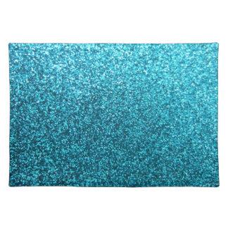 Falso brillo azul manteles