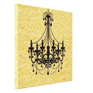 Falso brillo Black Chandelier del oro Impresión En Lona