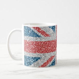 Falso brillo de la bandera BRITÁNICA de moda Taza Clásica