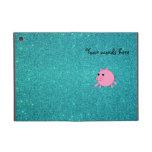 Falso brillo de la turquesa del cerdo lindo iPad mini protector