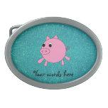 Falso brillo de la turquesa del cerdo rosado hebilla cinturon oval