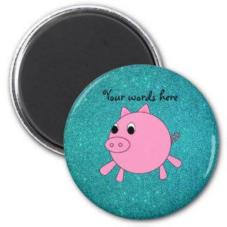 Falso brillo de la turquesa del cerdo rosado imán redondo 5 cm