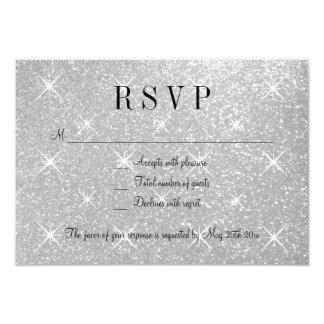 """Falso brillo de plata RSVP que casa tarjetas de la Invitación 3.5"""" X 5"""""""