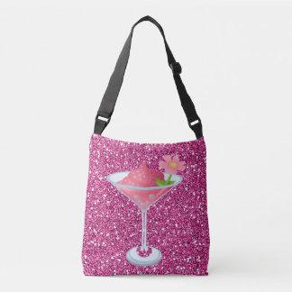 Falso brillo del cóctel rosado de la flor bolsa cruzada