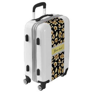 Falso brillo del oro del leopardo y negro de la maletas