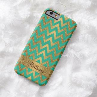 Falso brillo del oro del zigzag de moda lindo del funda de iPhone 6 barely there