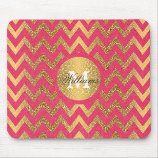 Falso brillo del oro del zigzag de moda lindo del mouse pads