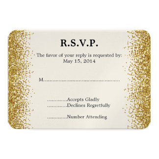 """Falso brillo del oro que casa RSVP Invitación 3.5"""" X 5"""""""