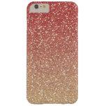 Falso brillo del oro rosado coralino funda de iPhone 6 plus barely there