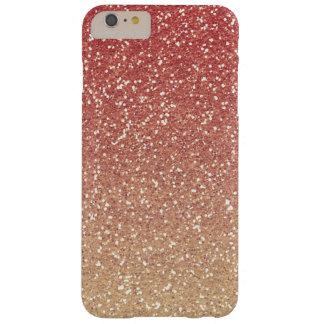 Falso brillo del oro rosado coralino funda para iPhone 6 plus barely there