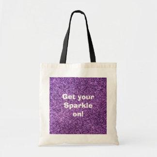 Falso brillo púrpura bolsa lienzo