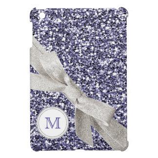 Falso brillo púrpura con el arco y el monograma de iPad mini carcasas