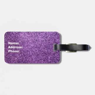 Falso brillo púrpura etiqueta para maleta