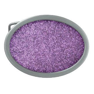Falso brillo púrpura hebillas de cinturon ovales