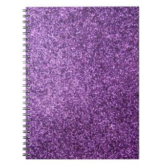 Falso brillo púrpura cuadernos