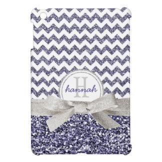 Falso brillo púrpura lindo Chevron con el monogram iPad Mini Cárcasas
