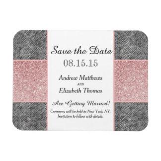 Falso brillo rosado bonito y tela gris iman flexible