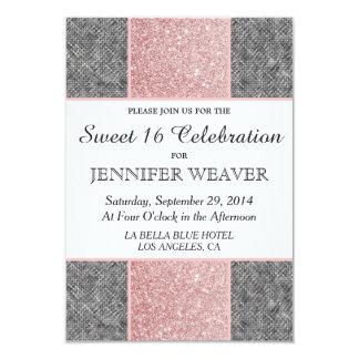 """Falso brillo rosado bonito y tela gris invitación 3.5"""" x 5"""""""
