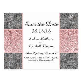 Falso brillo rosado bonito y tela gris tarjeta postal