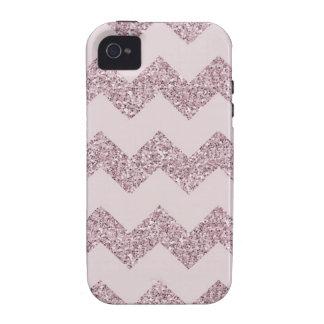 Falso brillo rosado de Chevron Case-Mate iPhone 4 Carcasas