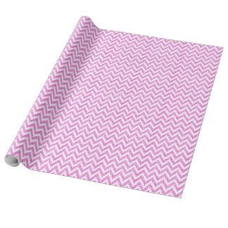 Falso brillo rosado y Ikat blanco Chevron Papel De Regalo