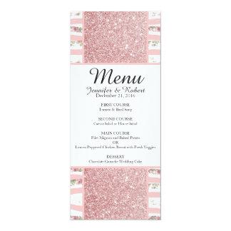 """Falso brillo rosado y rayas florales del invitación 4"""" x 9.25"""""""