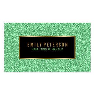 Falso brillo verde con acentos del negro y del oro tarjetas de visita
