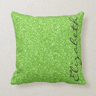 Falso brillo verde de neón vibrante de moda fresco cojin