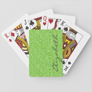 Falso brillo verde de neón vibrante de moda fresco cartas de juego