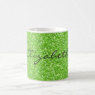Falso brillo verde de neón vibrante de moda fresco taza clásica