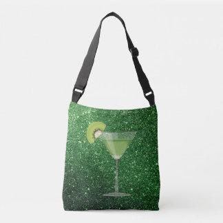 Falso brillo verde del cóctel w/Kiwi Bolsa Cruzada