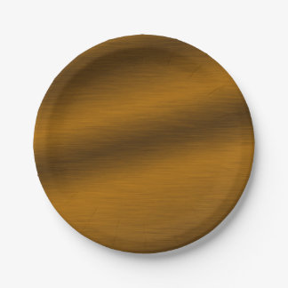 Falso bronce cepillado elegante platos de papel